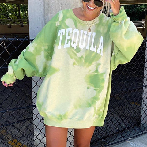 Fashion Casual 'TEQUILA' Tie Dye Sweatshirt