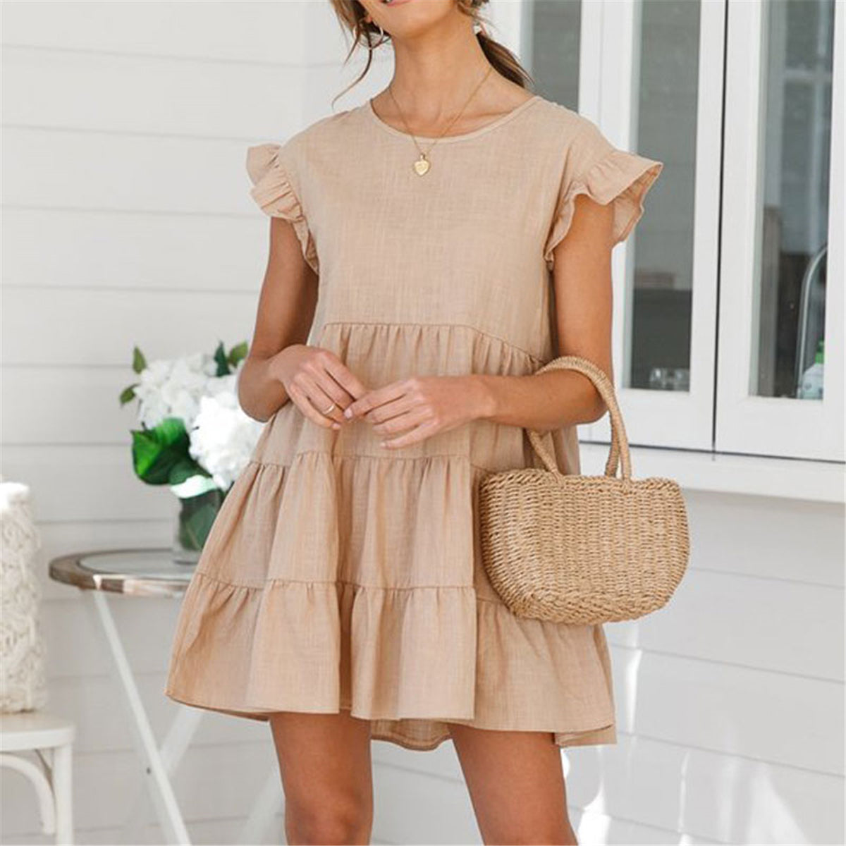 Lovely Plain Loose Flounce Embellished Vacation Dress