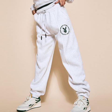Fashion Bunny Print Sweatpants - White