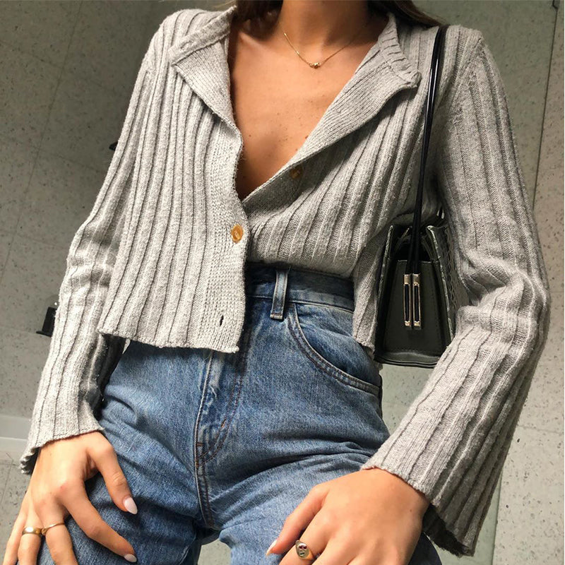 Simple Solid Knit Cardigan