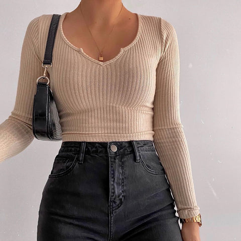 Basic Style Long Sleeve Crop Top