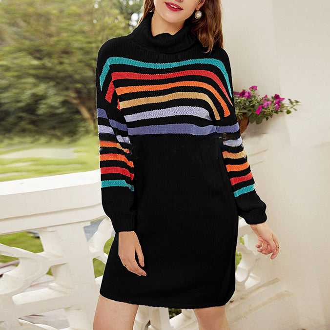 High collar fashion casual color striped loose knit