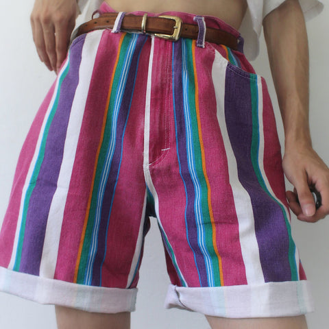Retro Rose Red Striped Casual Shorts