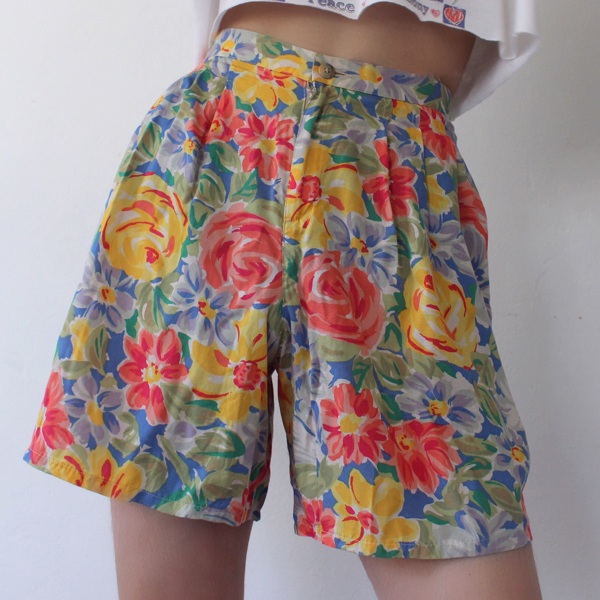 Retro Floral Printed Casual Shorts
