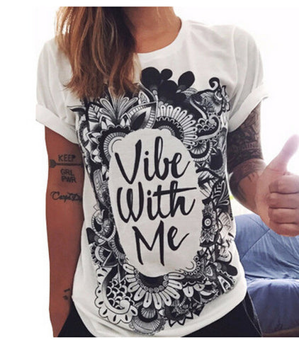 Trendy black and white letter T-shirt