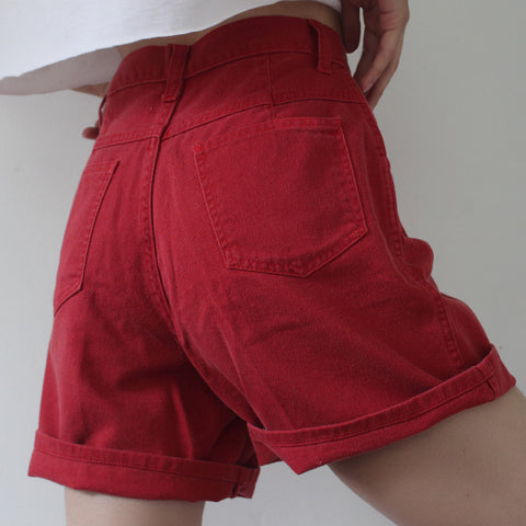 Red Loose Fitting Shorts