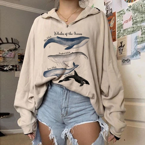 Whales Of The Oceans Zip-up Loose Sweatshirt