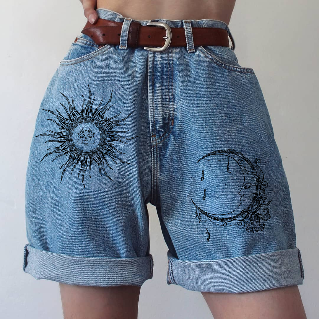 Summer Fashion Sun Moon Print Denim Shorts