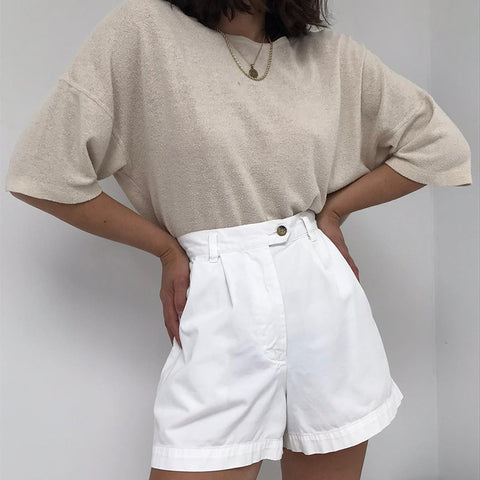 Retro Casual White Shorts