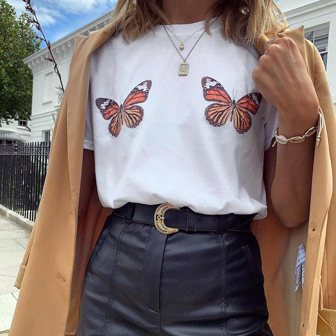 Vintage Butterfly Print T-shirt
