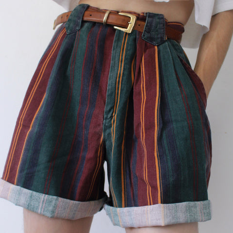 Retro Dark Striped Casual Shorts