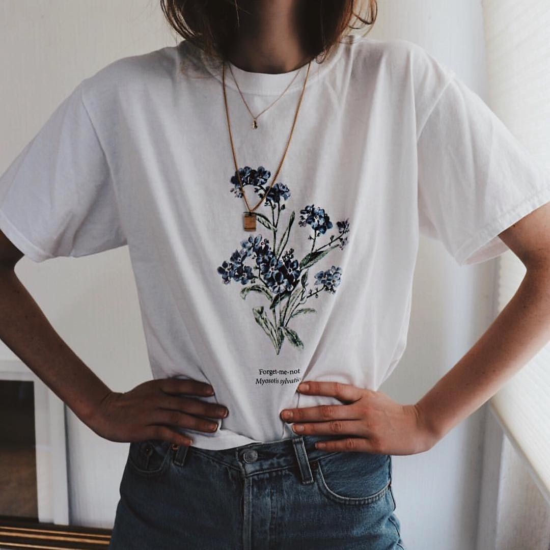 Forget Me Not Flower Print T-shirt