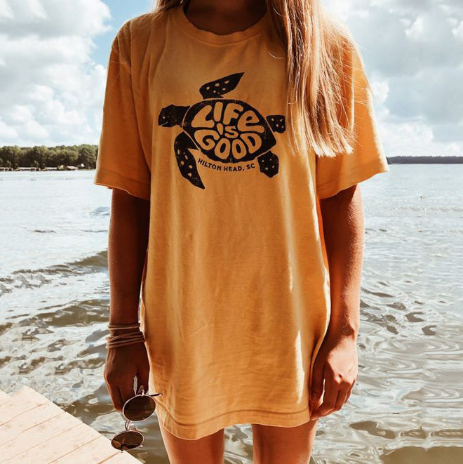 Casual Life is Good Turtle Print Long Tee