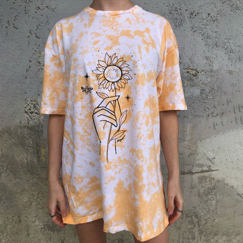 Casual Sunflower Tie-dye T-shirt
