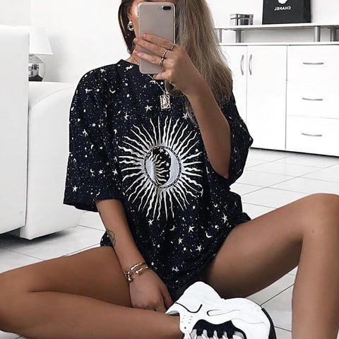 Fashion Casual Sun Graphic Tee