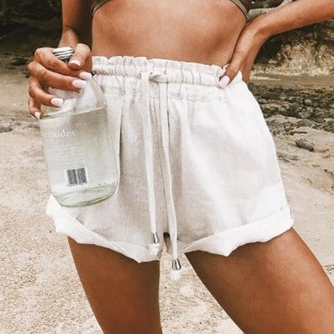 White Casual Loose Shorts