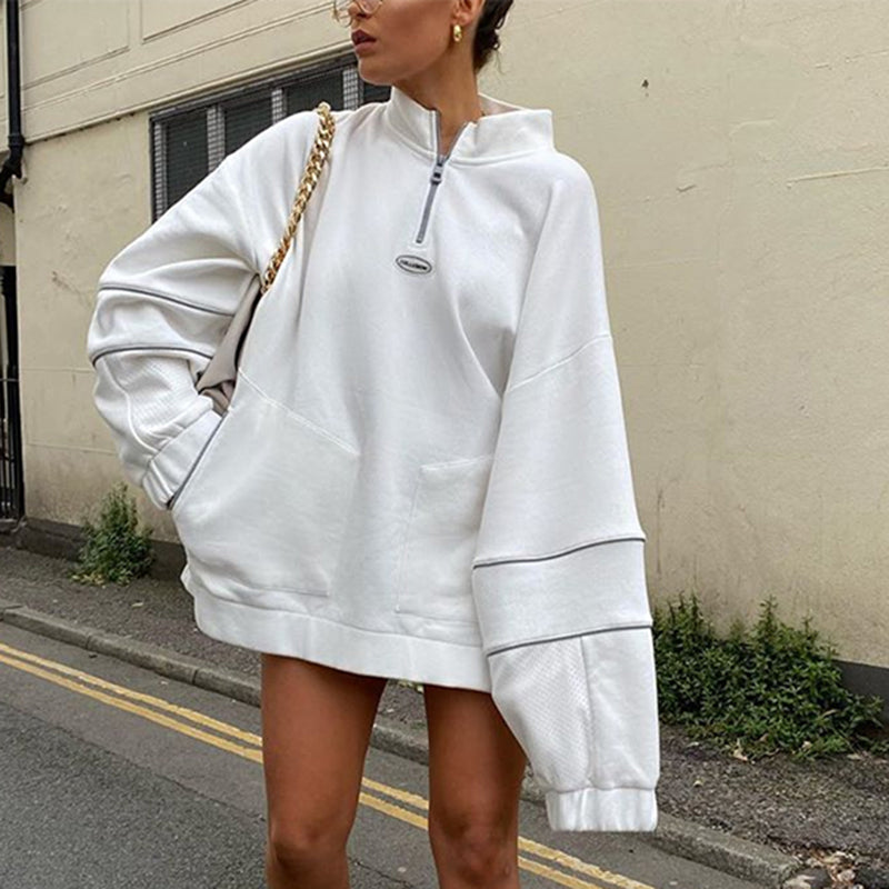 Vintage Loose White Zipped Sweatshirt