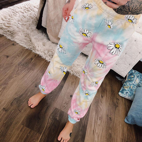 Casual Smiley Flower Print Sweatpants