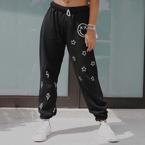 Casual Smiley Face And Star Lightning Print Sweatpants