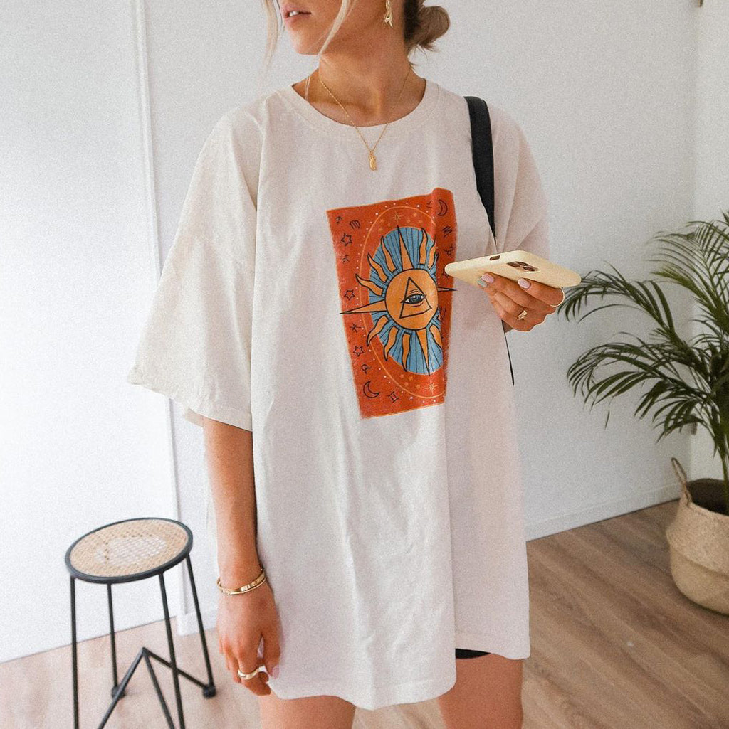 Fashion Tarot Print Relaxed T-shirt