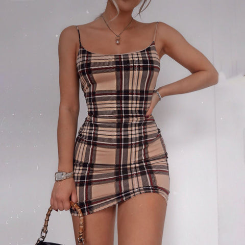 Mariella Checked Print Mini Dress