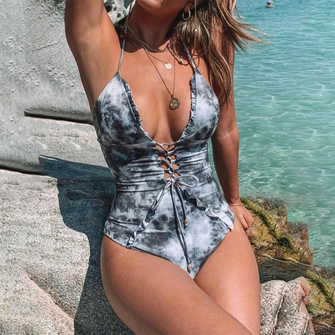 Holiday Sexy Printed Ruffled Strap Swimsuit