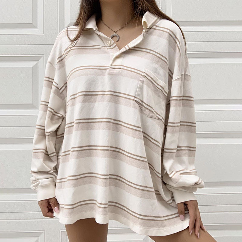 Casual Fold Collar Striped Sweatshirt