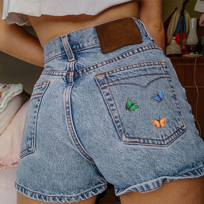 Casual Butterfly Embroidered Denim Shorts