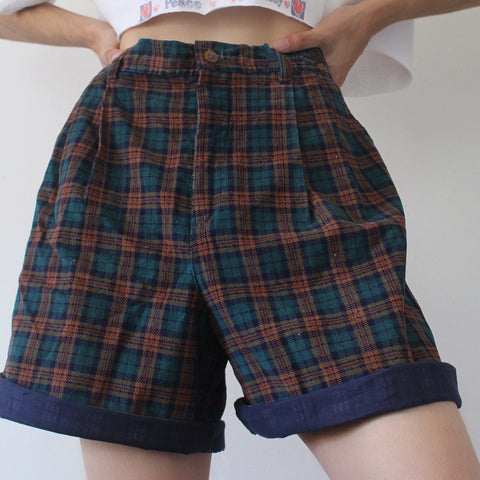 Retro Dark Plaid Casual Shorts
