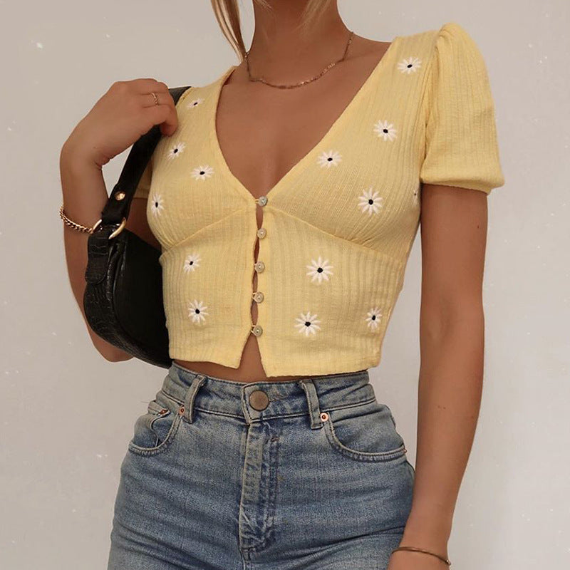 Daisy Embroidery Button Down Crop Top
