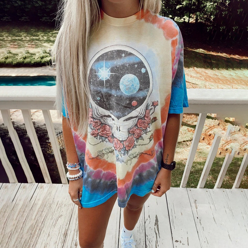 Casual Skull And Rose Print T-shirt