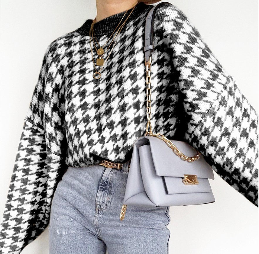 Geometric Houndstooth Sweater