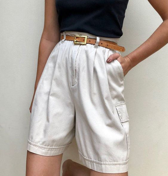 Retro Loose Fitting White Shorts