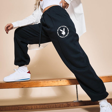 Fashion Bunny Print Sweatpants - Black