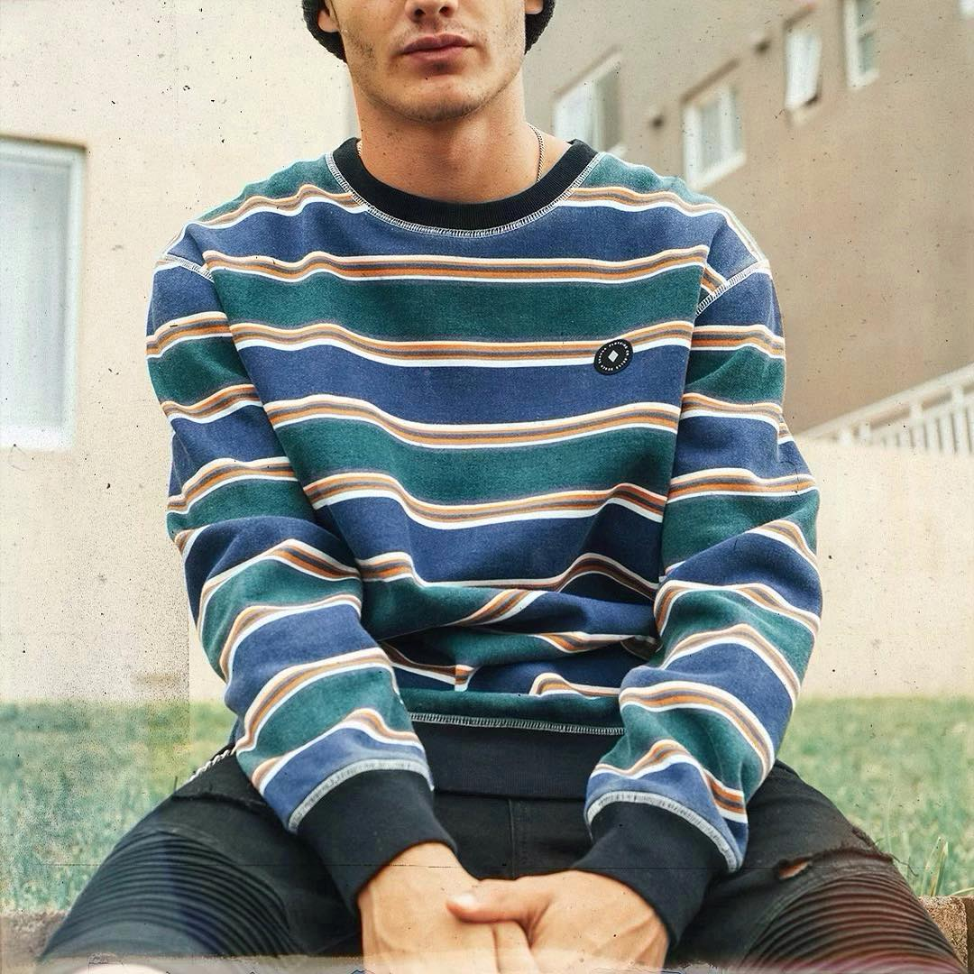 Vintage Casual Striped Sweatshirt