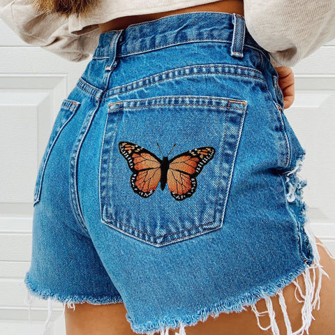 Fashion butterfly embroidery Denim Shorts