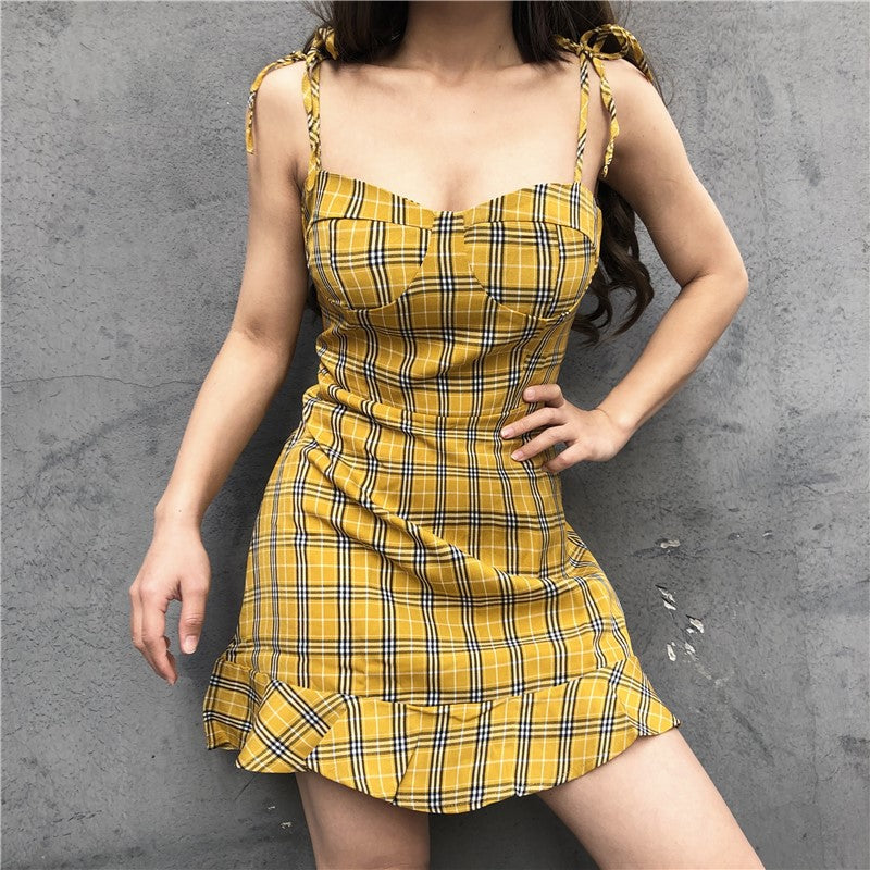 Vintage Yellow Plaid Dress