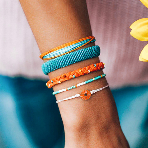 Hand-woven Daisy Sunflower Mixed-color Bracelet
