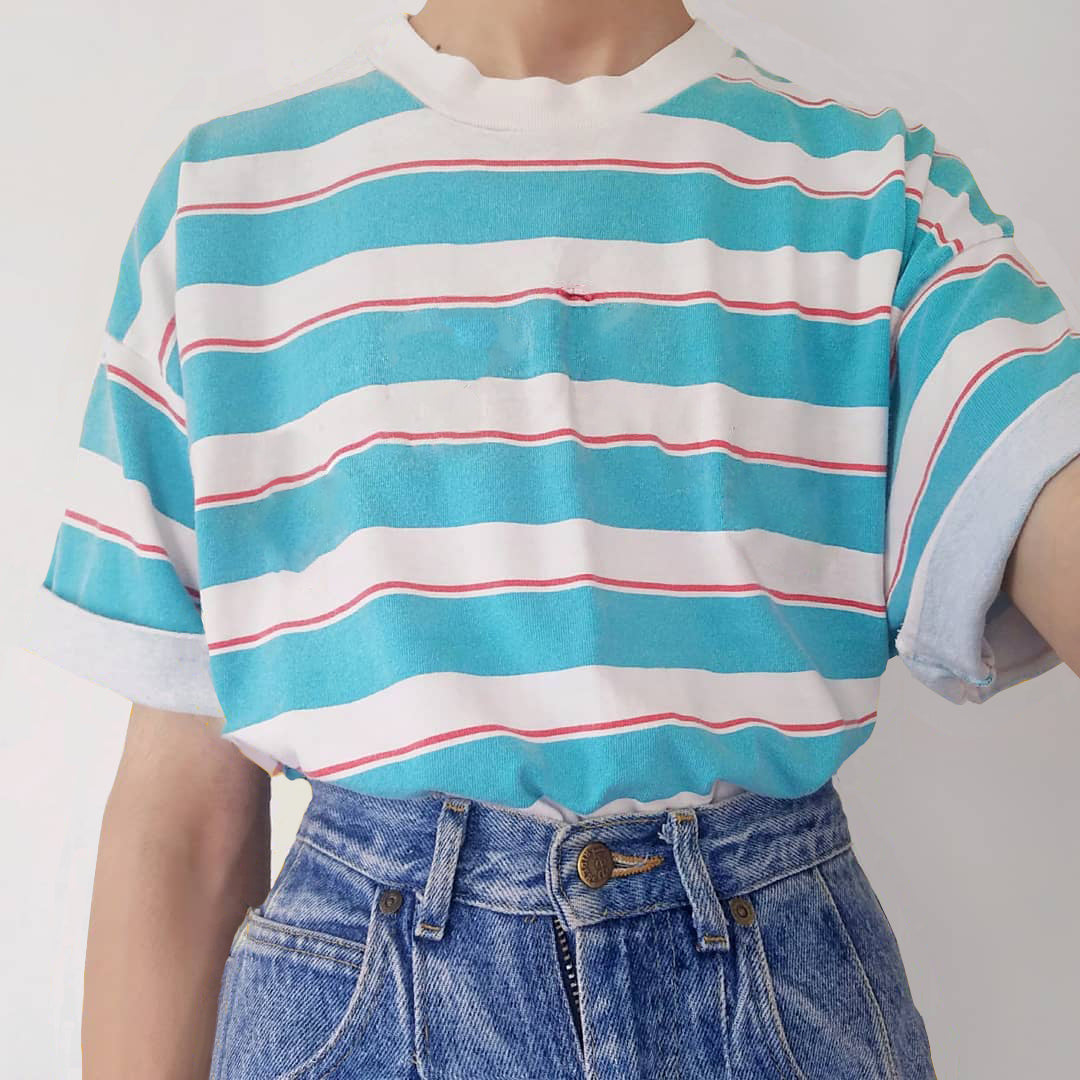 Retro Casual Blue And White Striped T-shirts