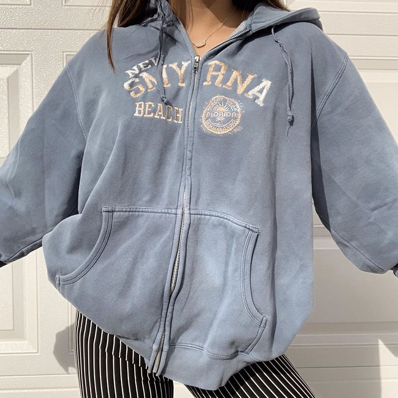 Vintage Casual New Smyrna Beach Print Zip Hoodie
