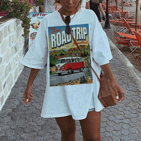 Fashion Loose Road Trip T-shirt