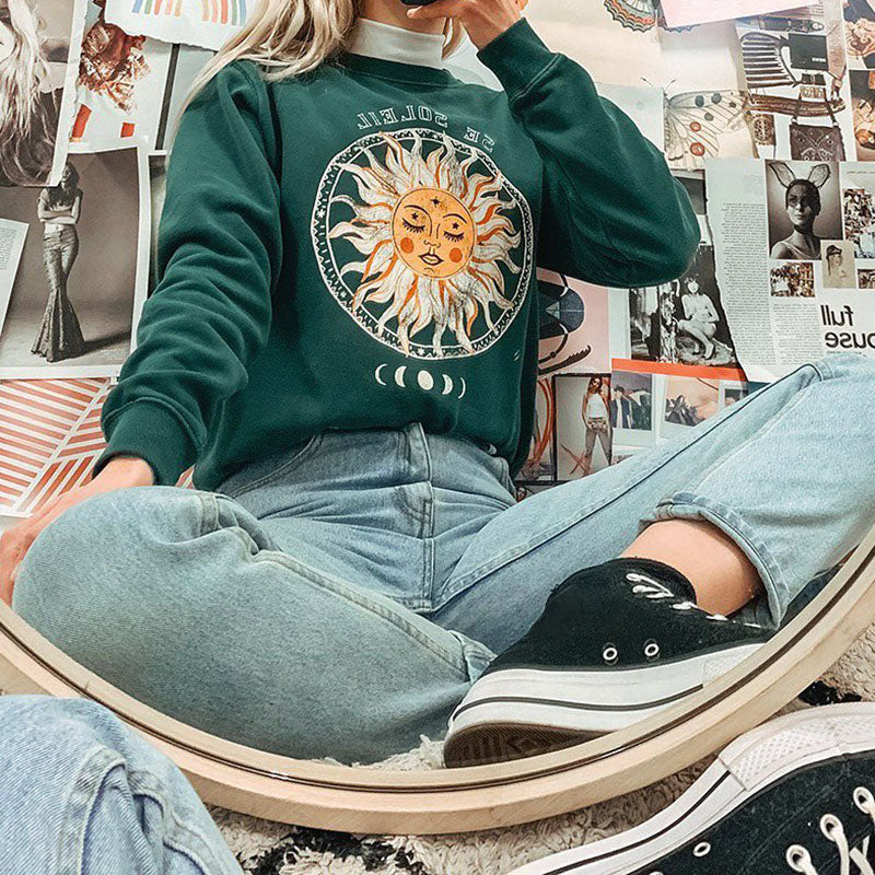 Sun Flower Print Crew Neck Sweatshirt