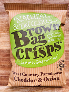 Brown bag cheddar & onion crisps