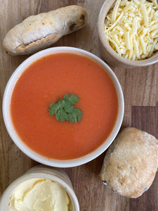 #13 Hot - click & collect only - Tomato & basil soup with roll and grated cheese and butter portion