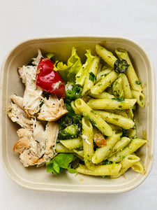 Pesto basil pasta salad with Italian chicken salad box