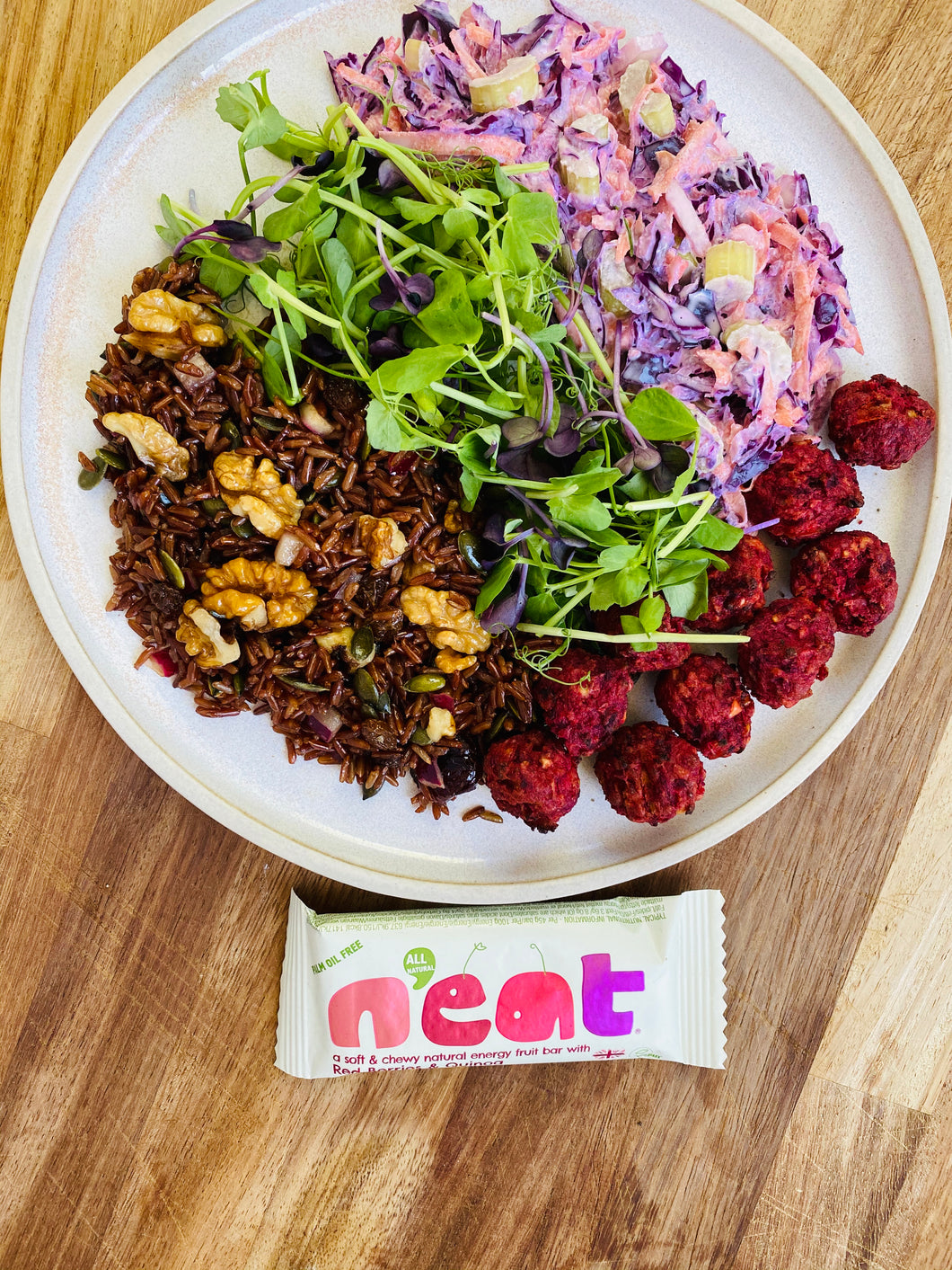 #4 Red rice, coleslaw salad with beetroot falafels and Neat Bar