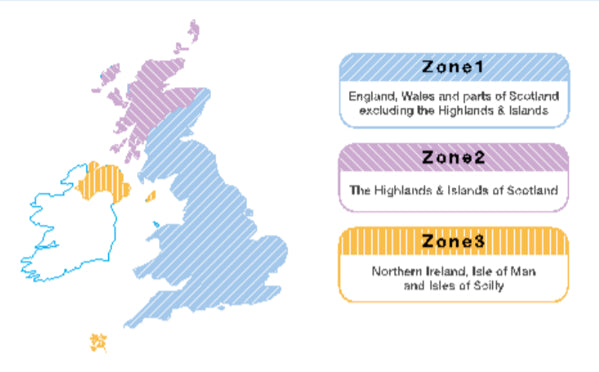 UK Zones 1-3 Map