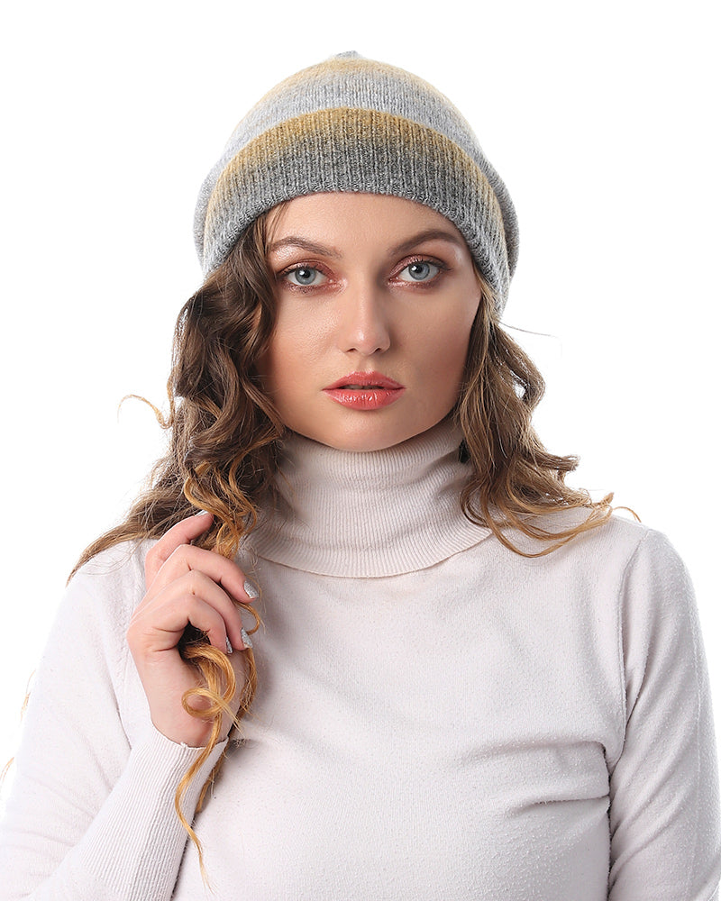 STRIPED KNITWEAR BONNET
