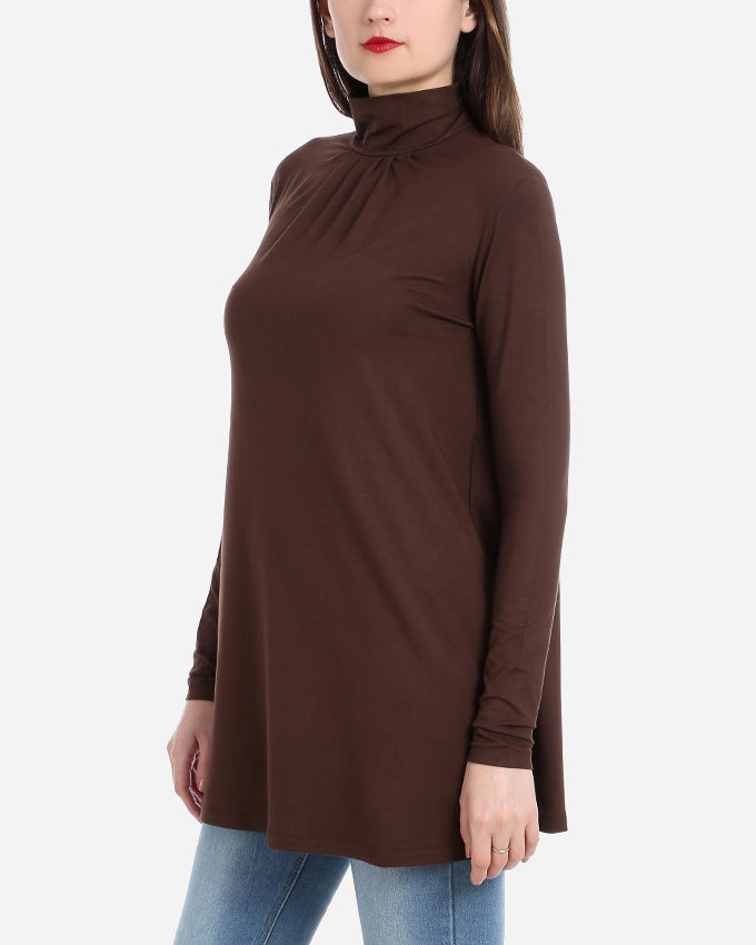 LONG HIGHNECK BLOUSE WITH SMALL PLEATS DETAIL