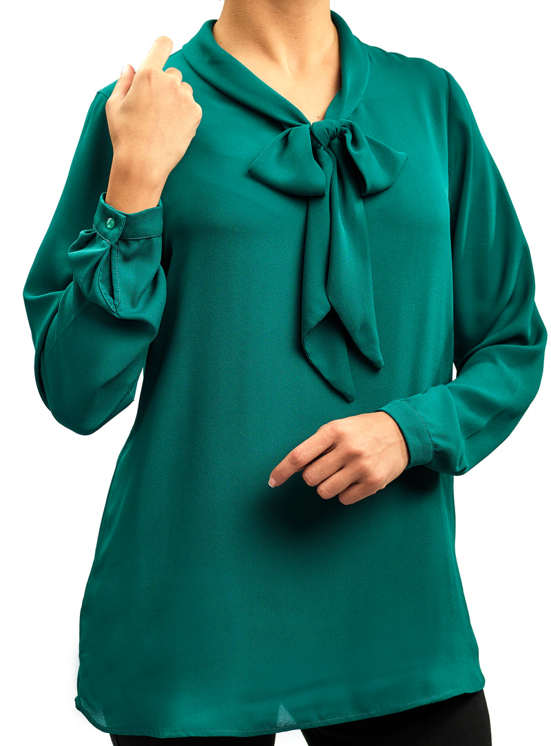 BASIC EVERYDAY SILKY CREPE CHIFFON BLOUSE WITH A BOW COLLAR